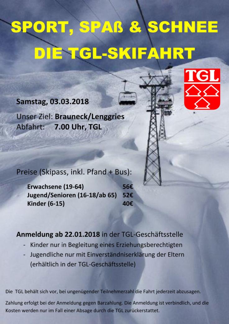 TGL-Skifahrt: Start für Anmeldung