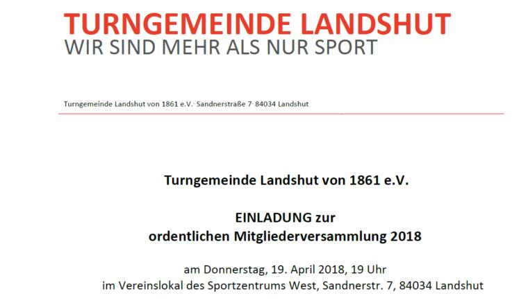 Ordentliche Mitgliederversammlung der Turngemeinde Landshut