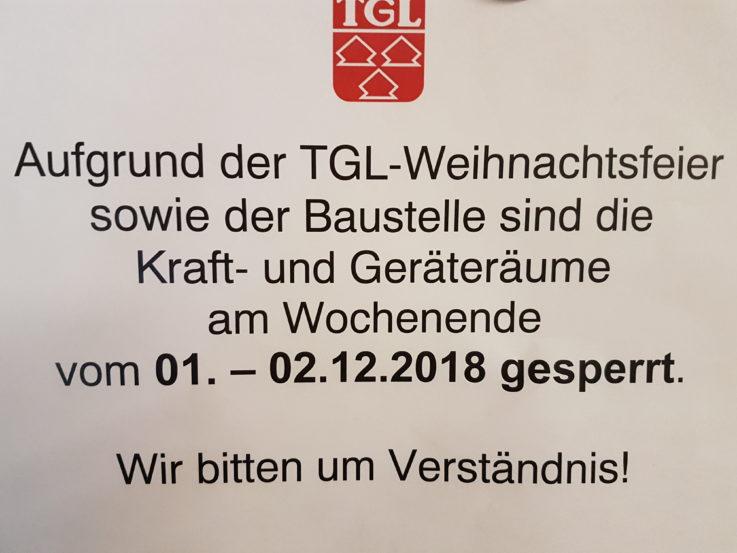 Wegen TGL-Weihnachtsfeier und Baustelle: Fitness- und Kraftsportbereich am Wochenende gesperrt