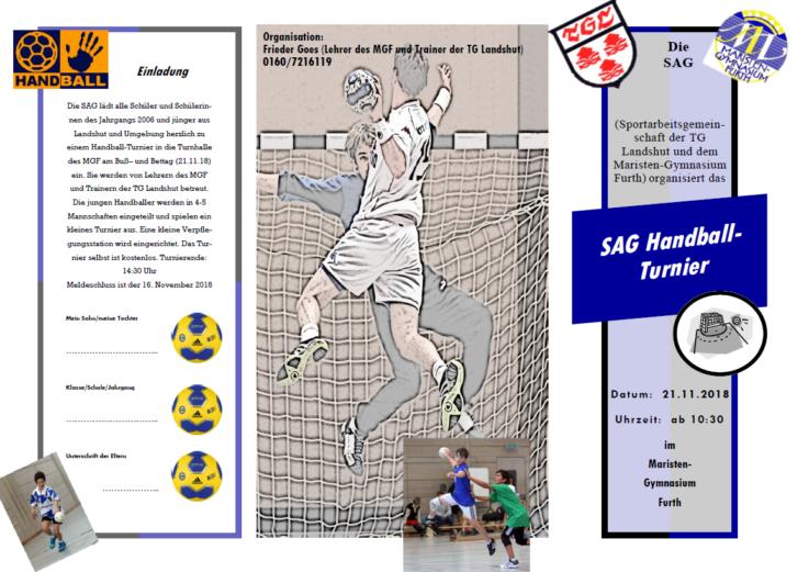 Handball: Auch dieses Jahr findet das SAG Turnier am 21.11.2018 in Furth statt.