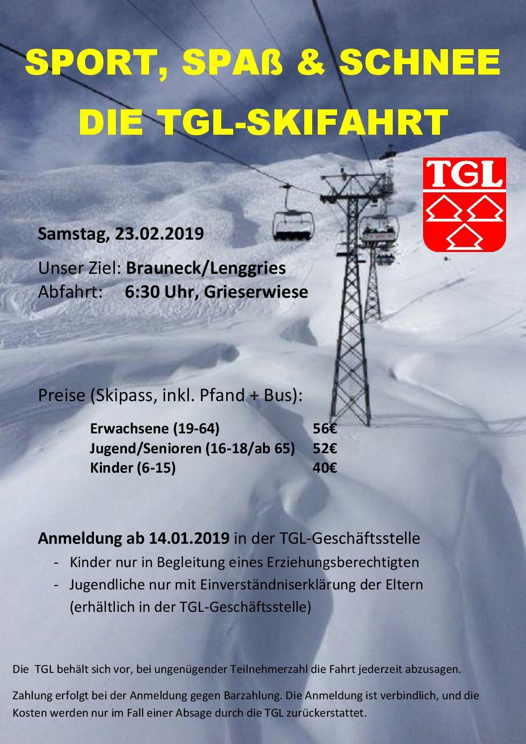 Skifahrt der TGL – Anmeldung in der Geschäftsstelle