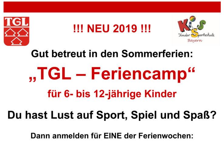 Wieder TGL-Feriencamps in den Sommerferien – Anmeldestart: 6. Mai