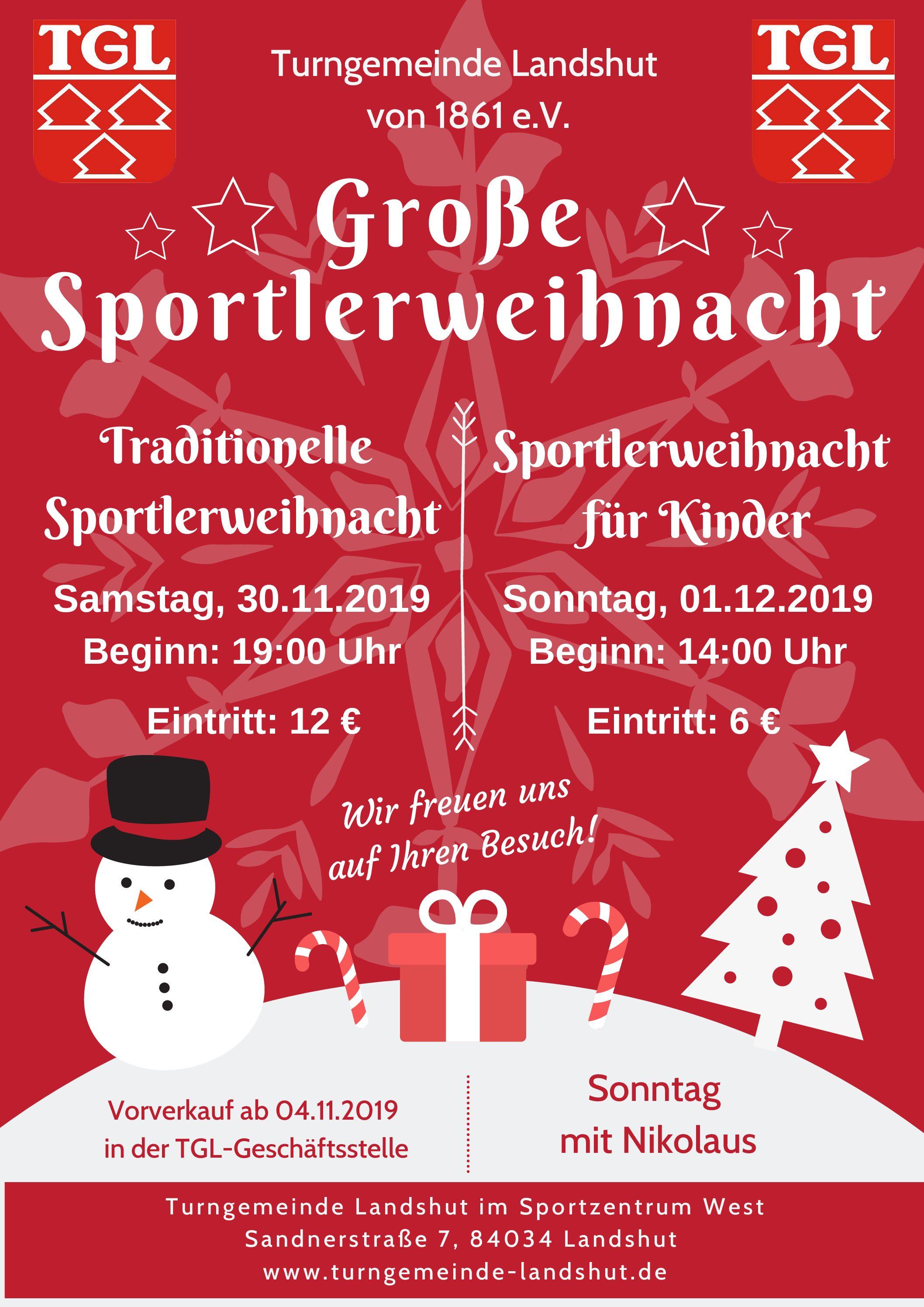 """TGL-Weihnachtsfeiern: """"Der Traum des Sportlers"""" – Karten ab 4. November"""
