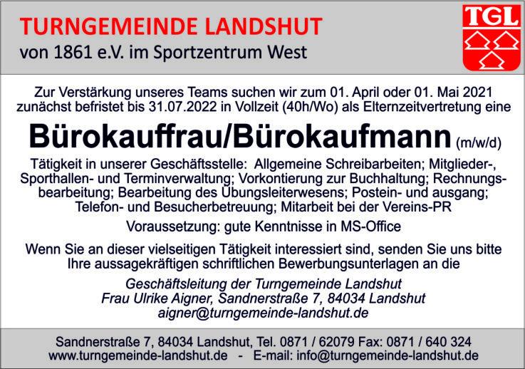 Turngemeinde Landshut sucht als Elternzeitvertretung Verstärkung für ihre Geschäftsstelle